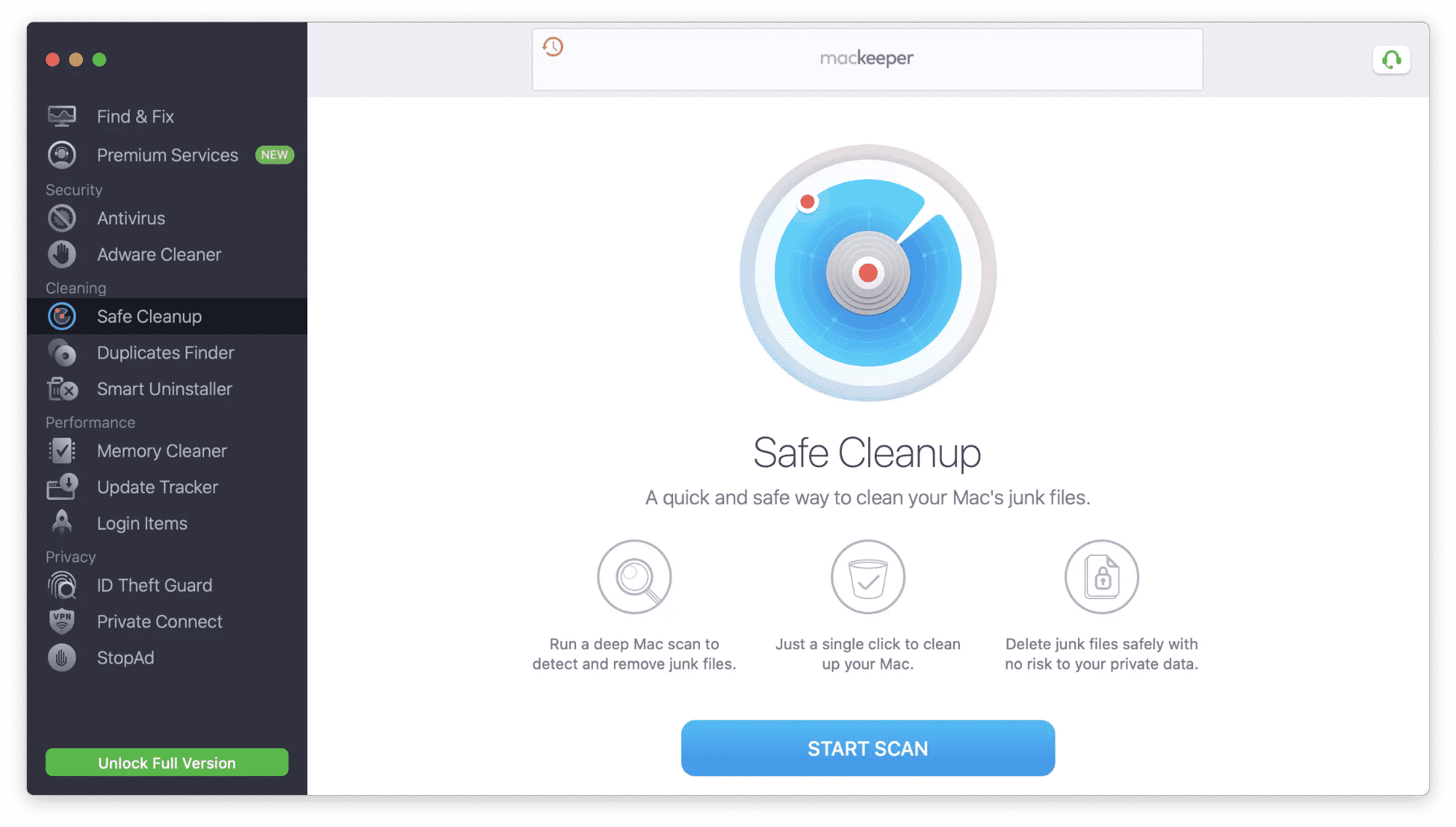 MacKeeper window showing Safe Cleanup section