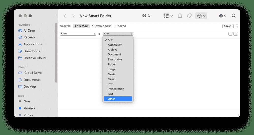Creating smart folder for other files
