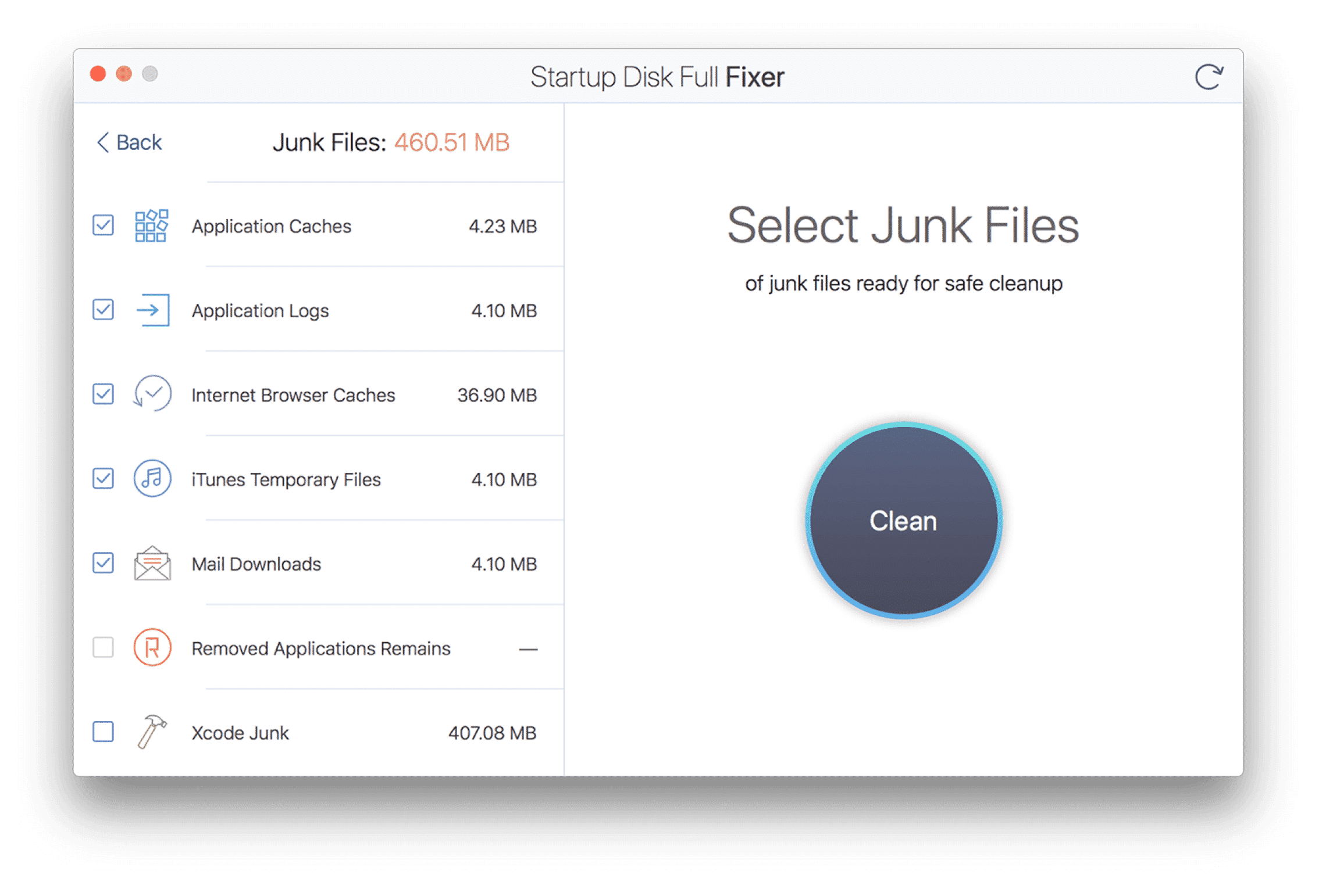 Startup Disk Full Fixer showing the Junk Files section