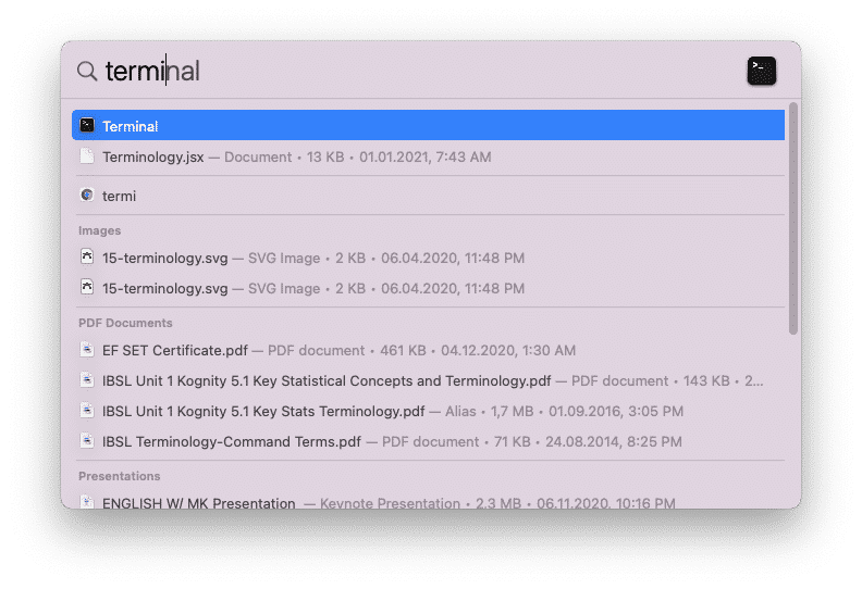 Searching for Terminal in Utilities folder in Finder