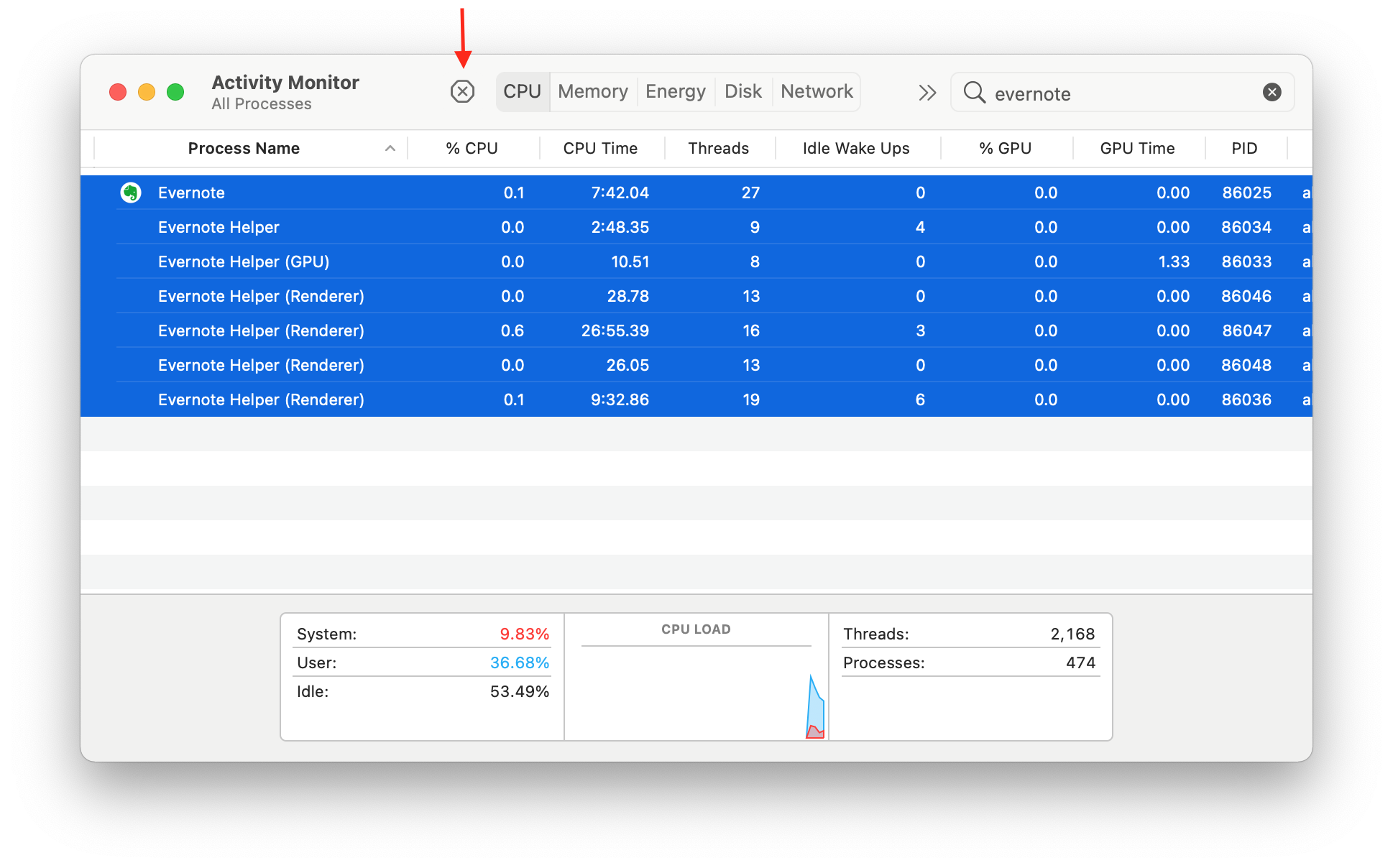 activity monitor showing evernote processes
