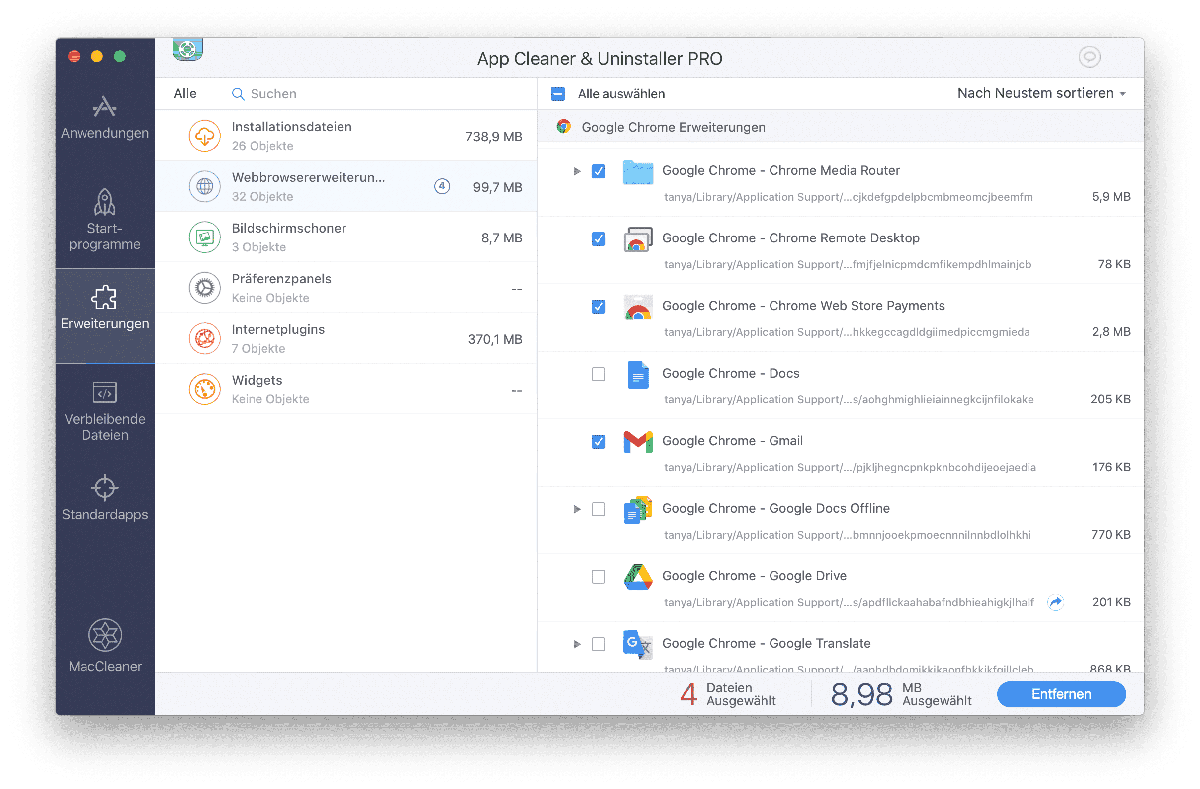 app cleaner extensions