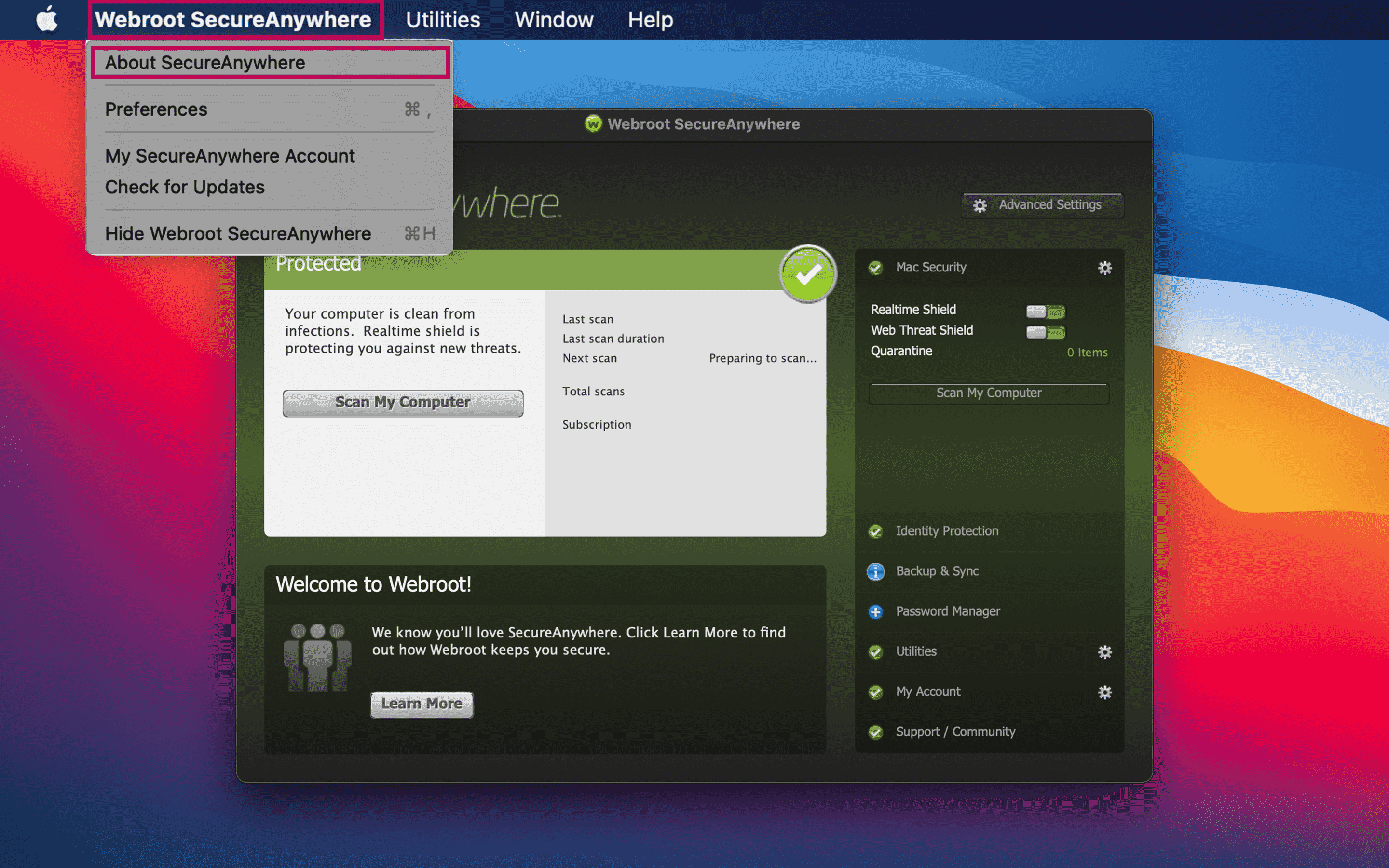 About Webroot SecureAnywhere command highlighted in menu bar