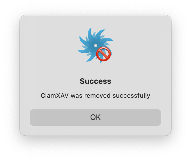 ClamXAV message about successful removal
