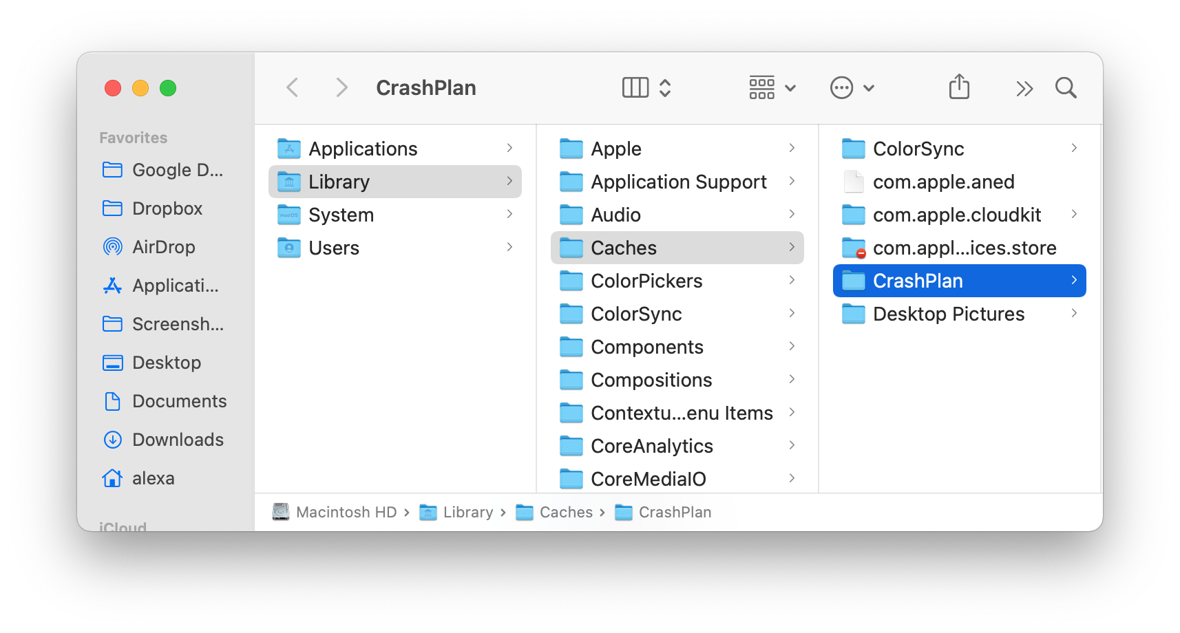 crashplan support files in Library