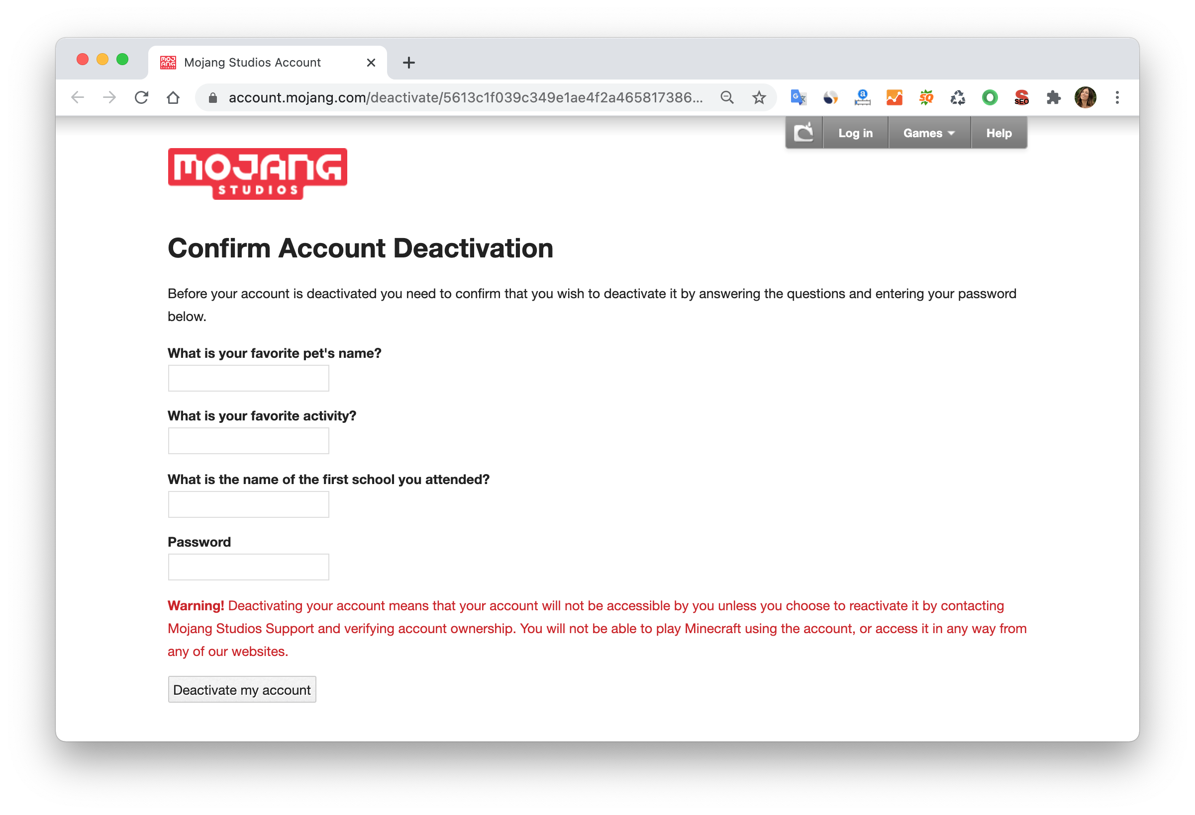 Minecraft account deactivation window