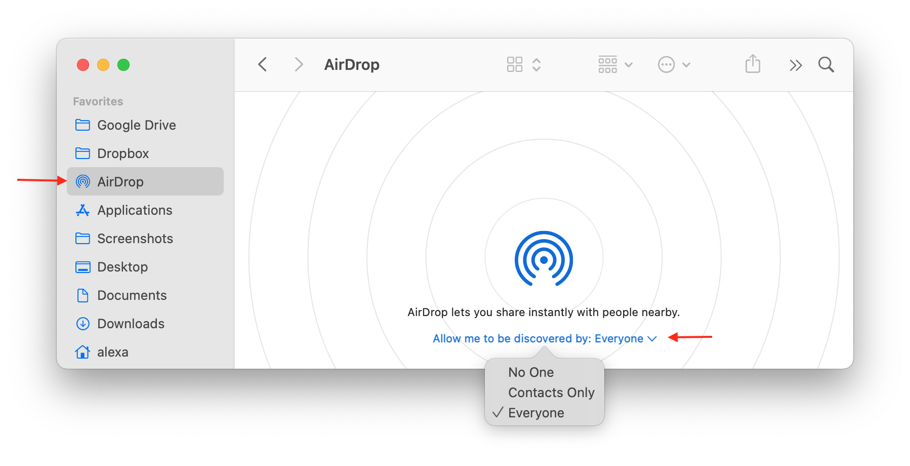 Finder showing the AirDrop section