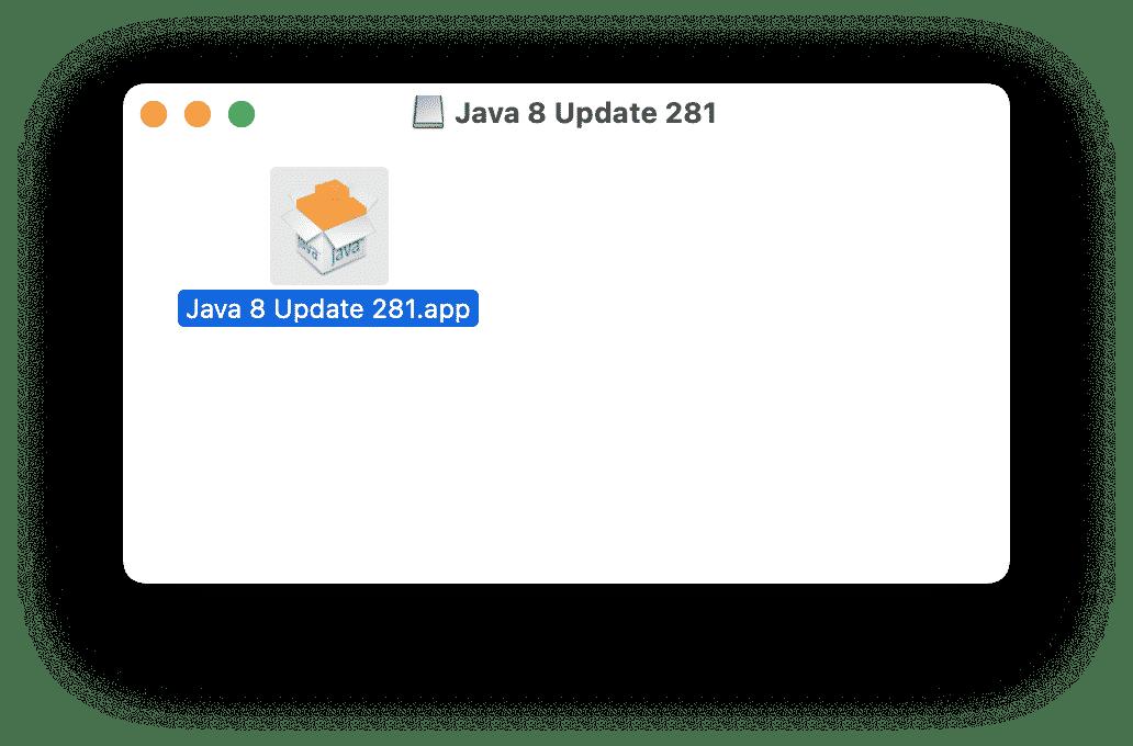Java installation window