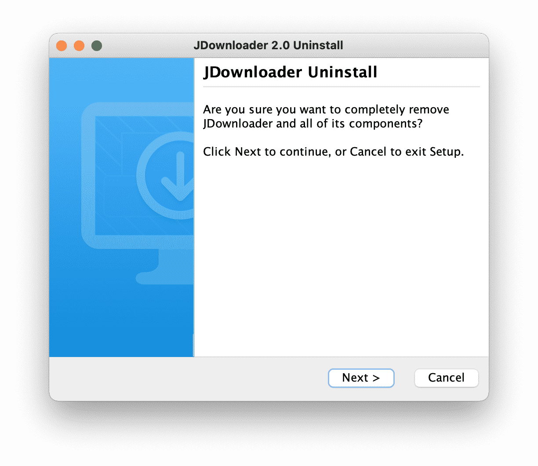 JDownloader Uninstall Window
