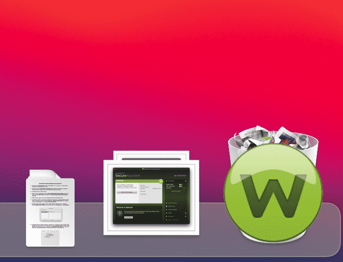 Placing the Webroot SecureAnywhere icon into the Trash