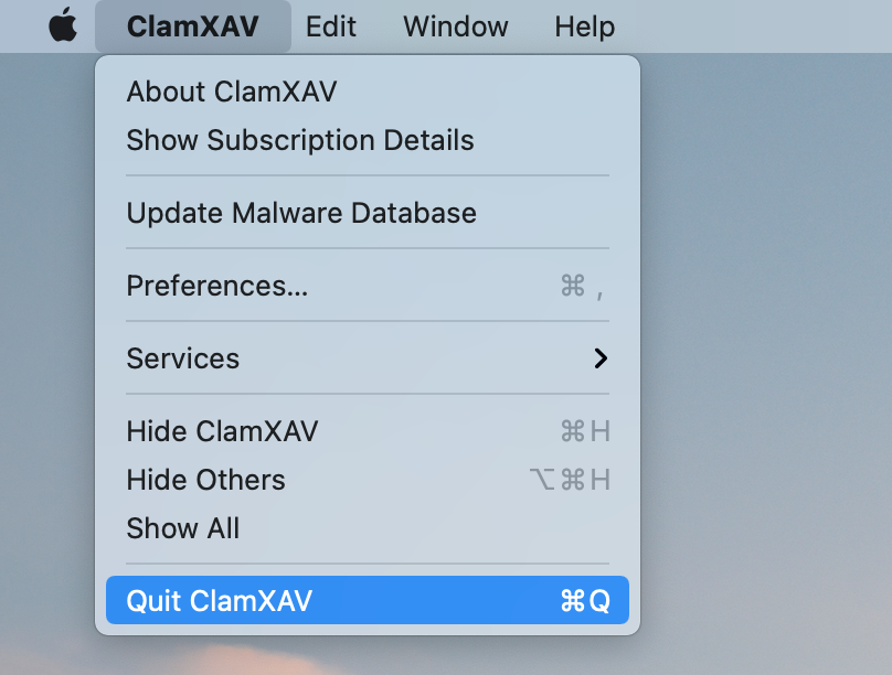 ClamXAV menu showing the Quit option