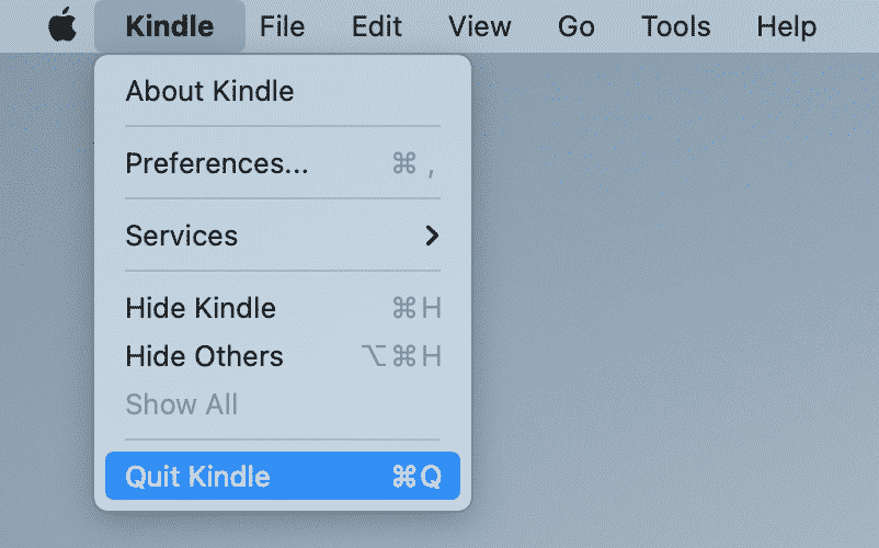 quit Kindle command in menu