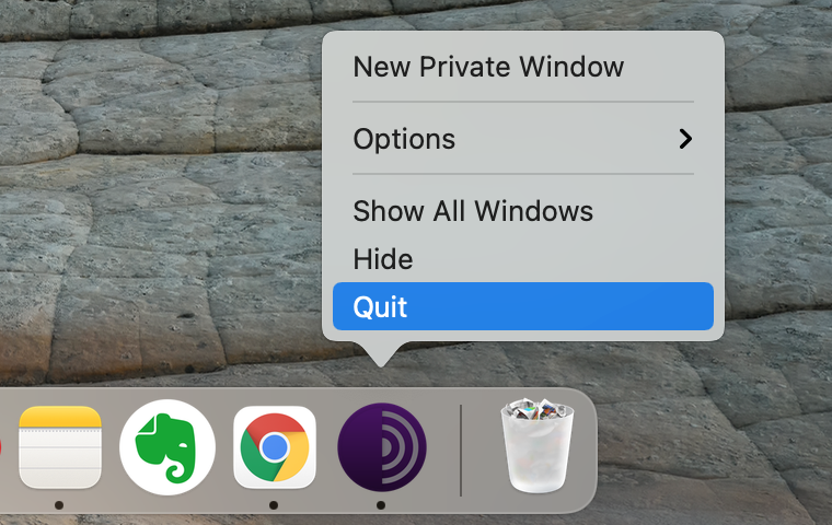 dock panel showing option to quit Tor