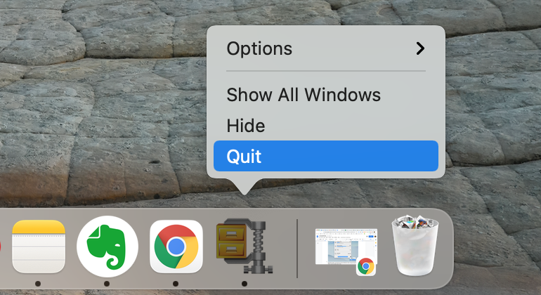 dock panel with winzip icon and option Quit