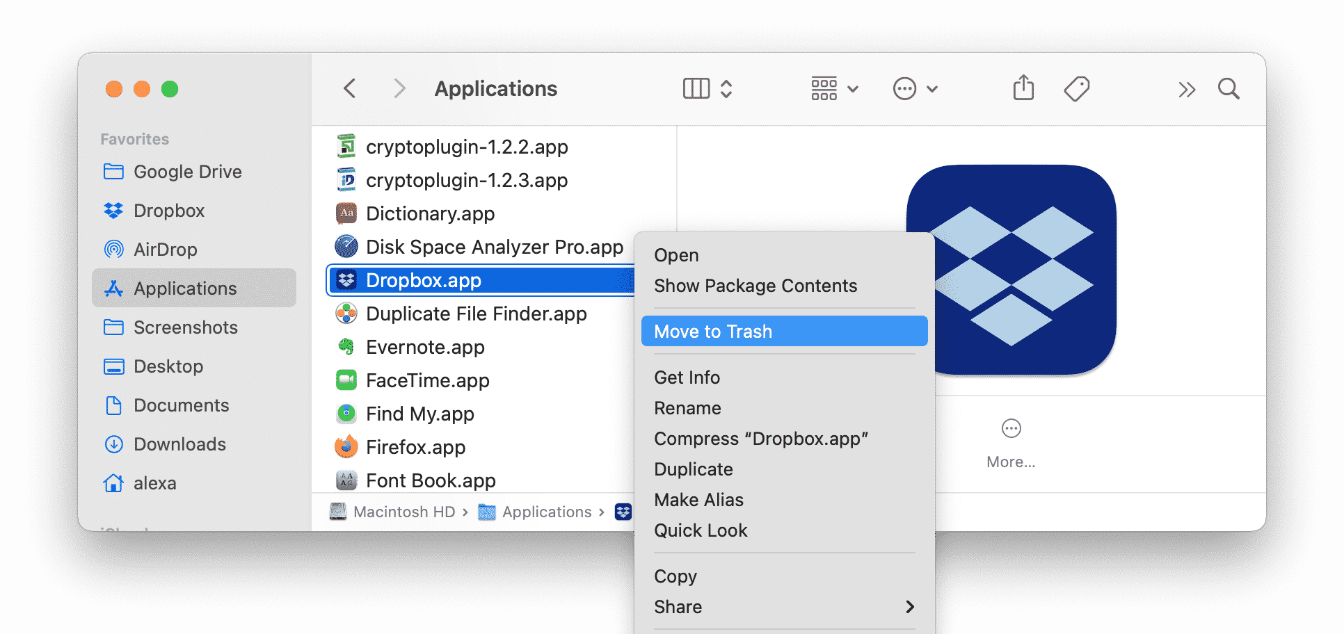 Applications folder showing the Dropbox desktop app