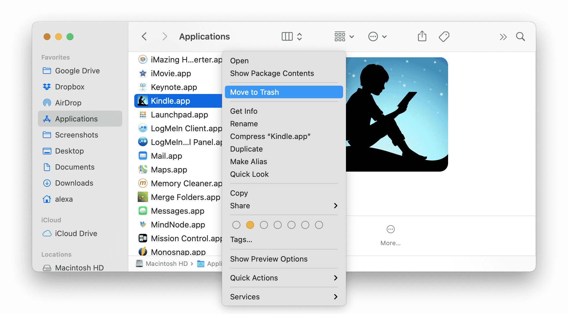 Applications folder showing Kindle and option to remove to Trash