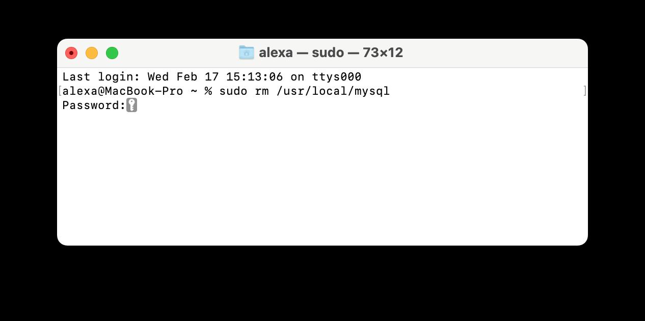 Terminal window showing command to remove MySQL