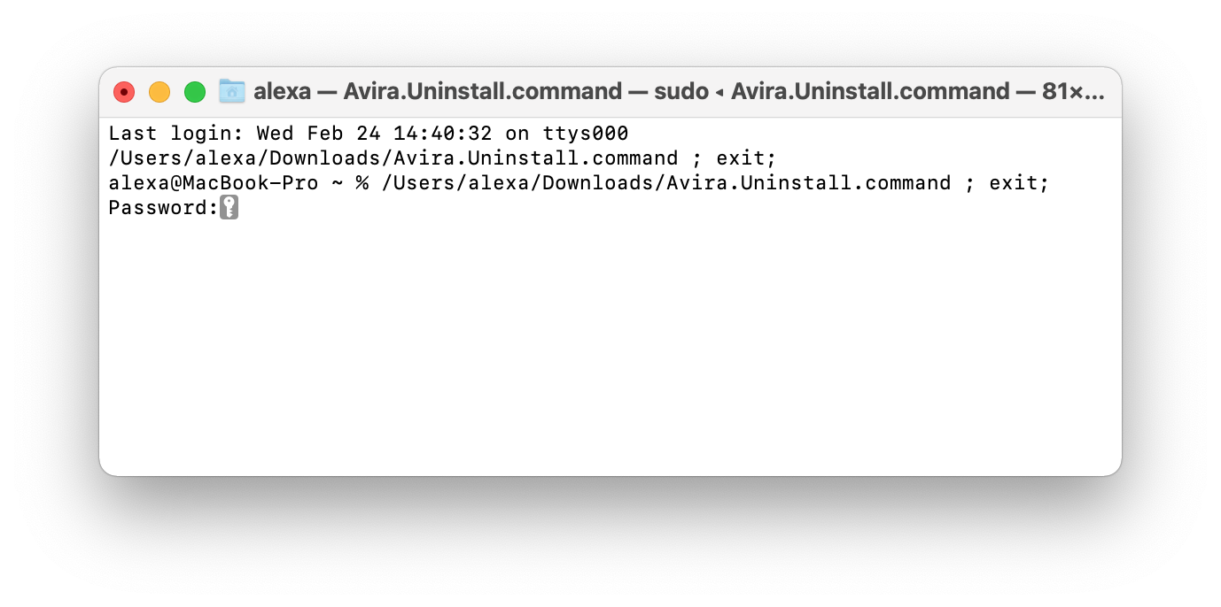 Terminal showing the command to uninstall Avira from Mac