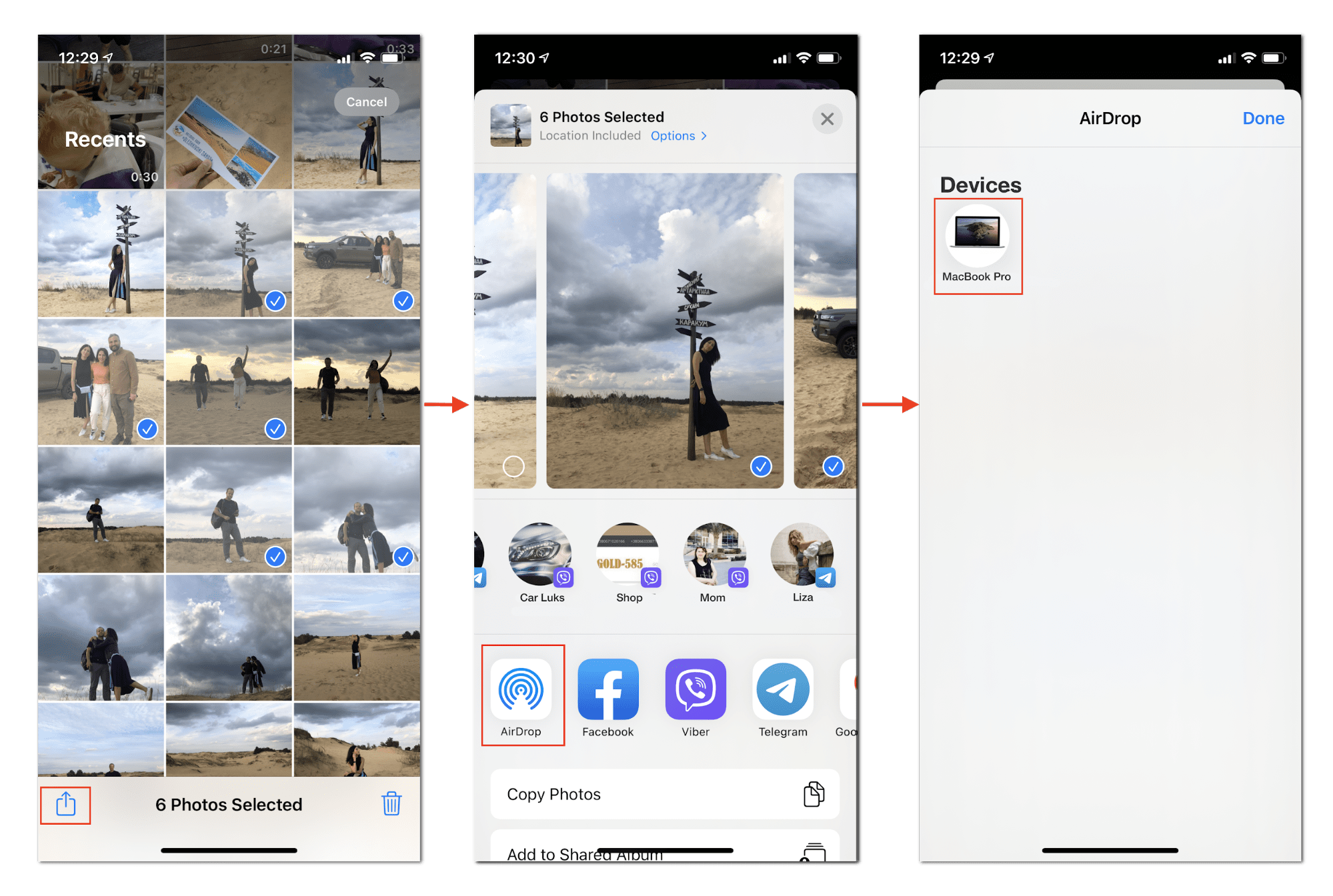 iPhone screens showing how to share photos via AirDrop
