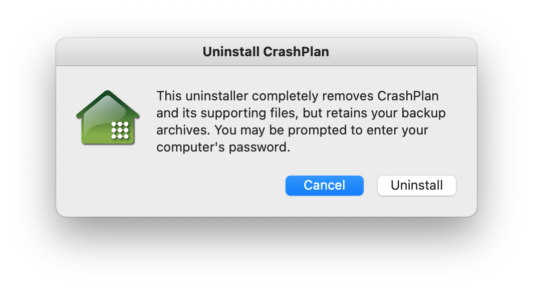 Uninstall CrashPlan window
