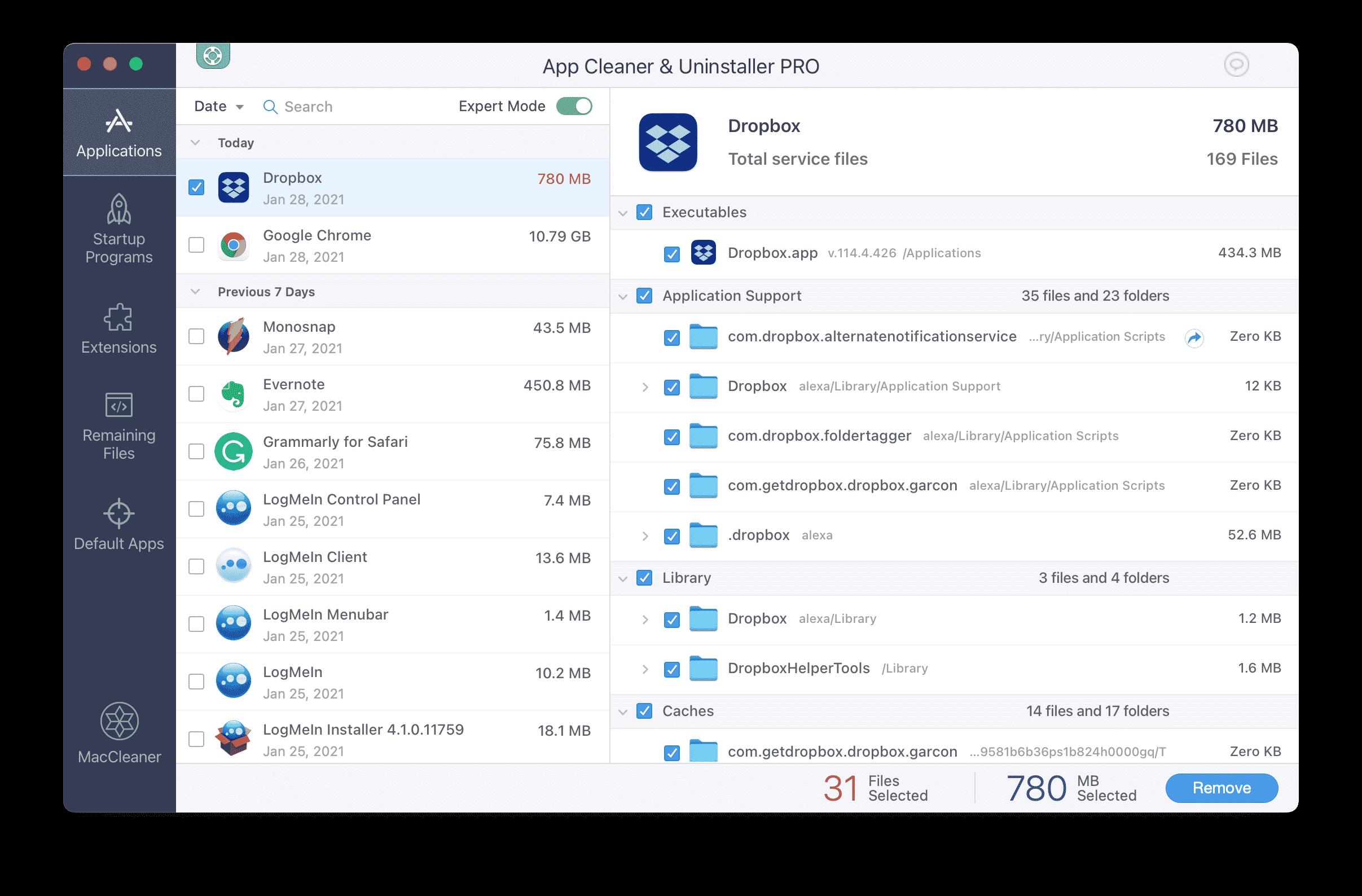 App Cleaner & Uninstaller showing Dropbox