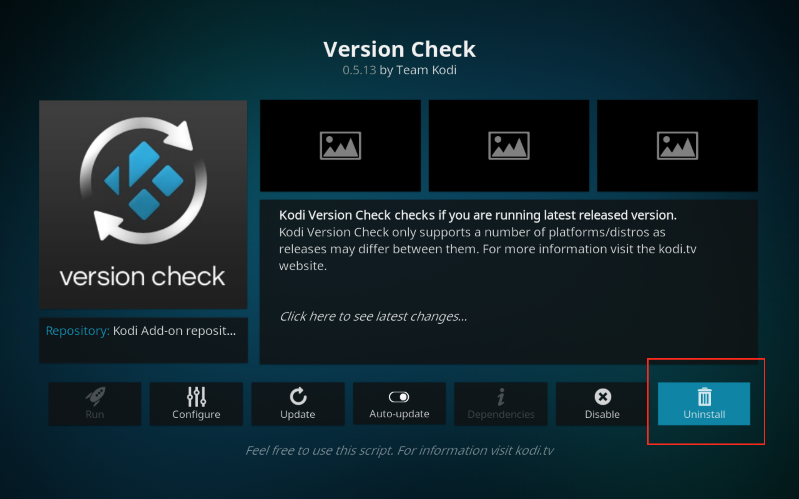 Kodi window showing addon with the Uninstall option highlighted