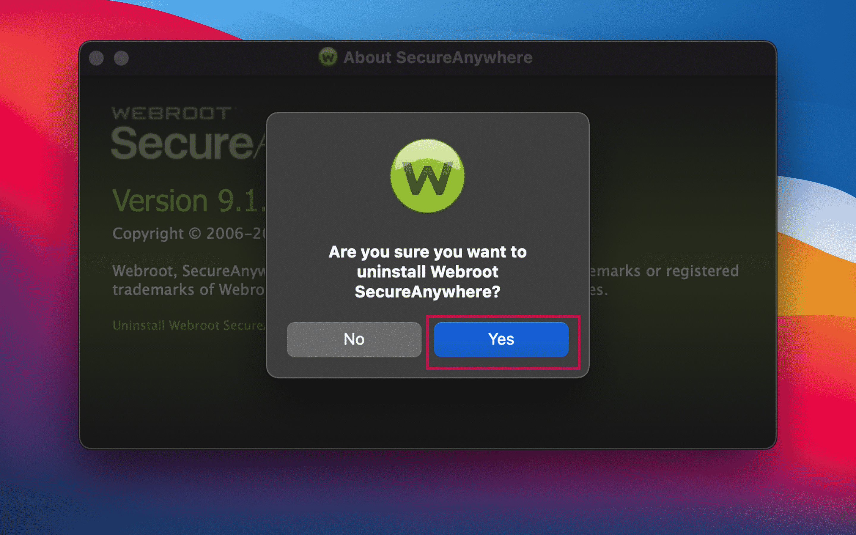 Confirmation window to uninstall WebRoot from Mac