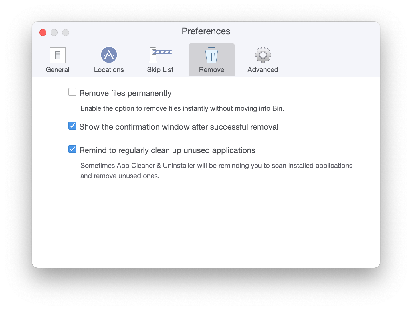 removal preferences in App Cleaner & Uninstaller