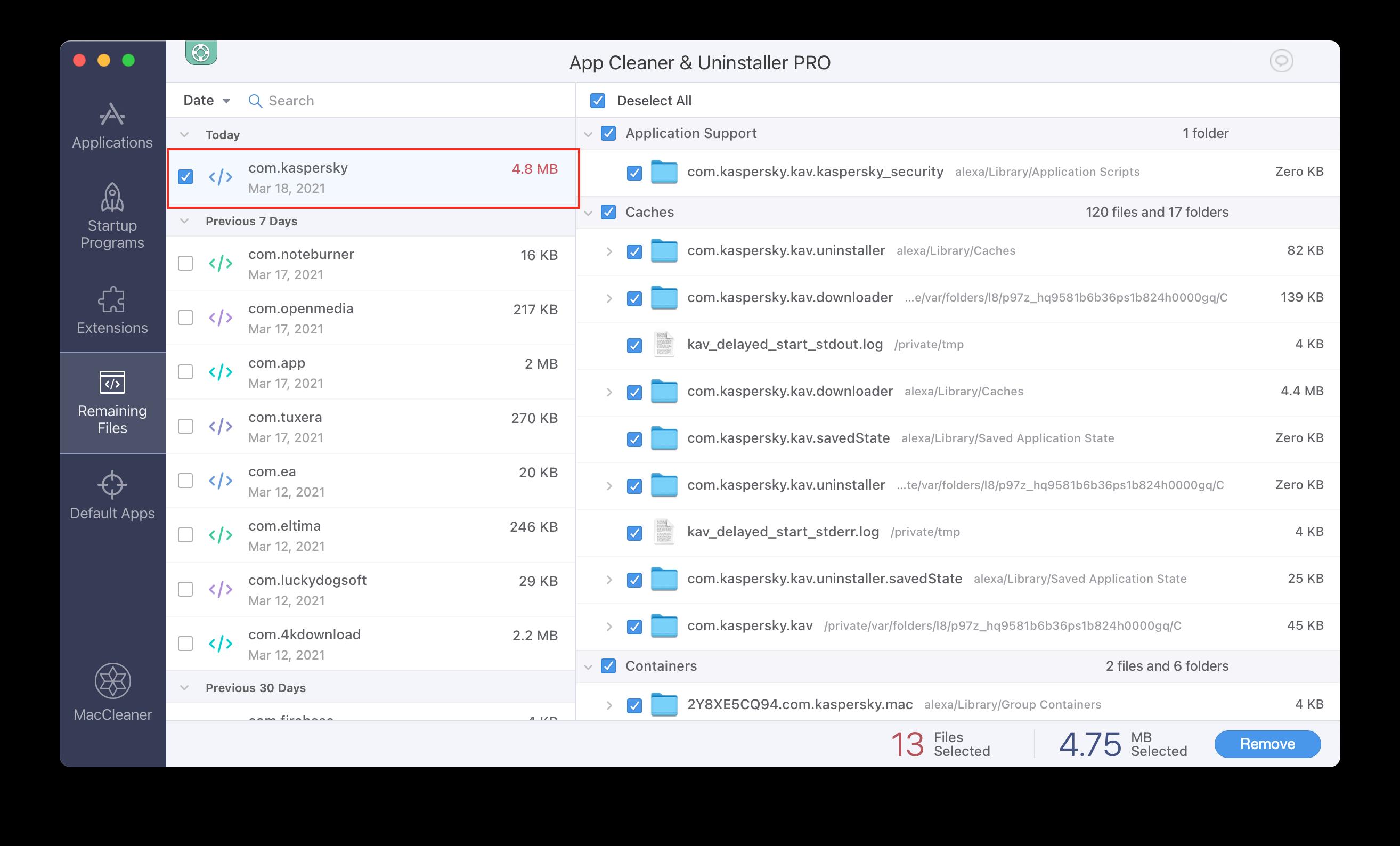 App Cleaner & Uninstaller showing Kaspersky's remaining files