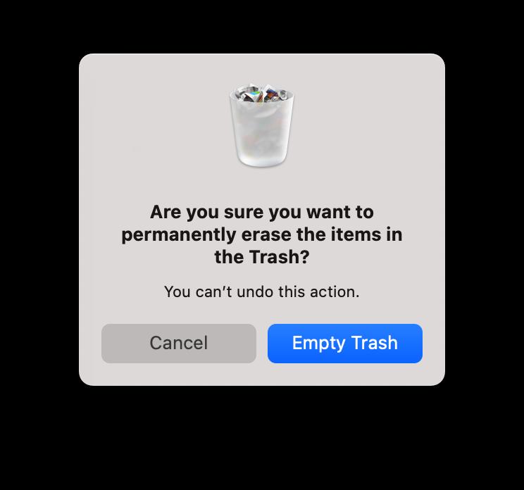 Confirmation window to Empty Trash