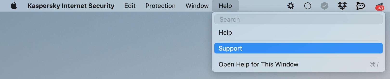 Kaspersky menu showing the Support option