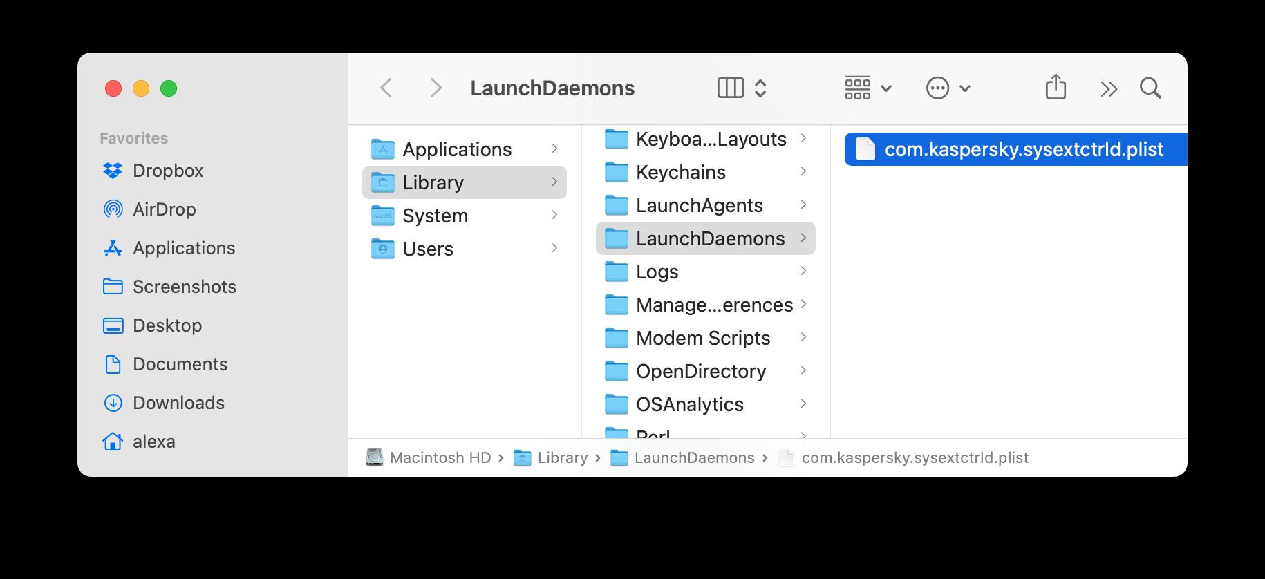 Kaspersky support files in Finder