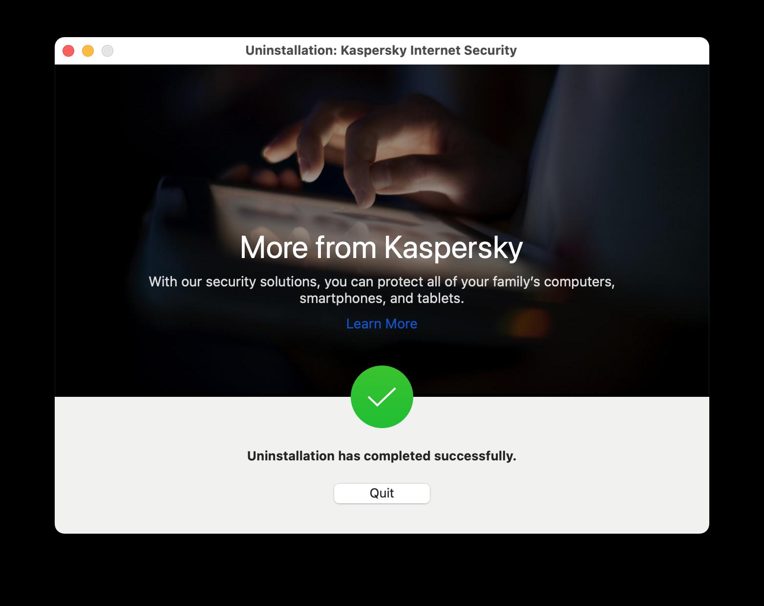 Kaspersky uninstallation window