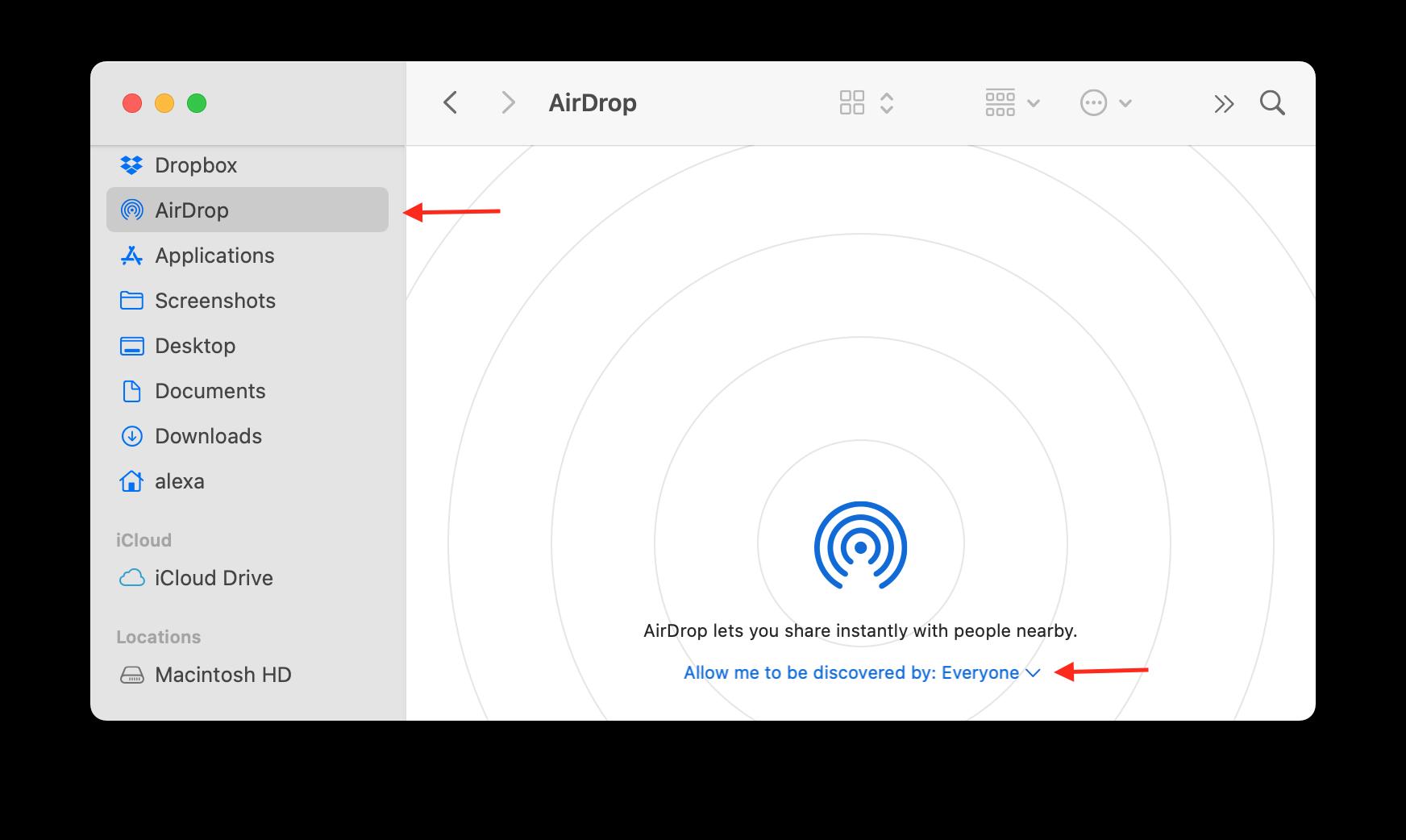 Finder showing Airdrop window