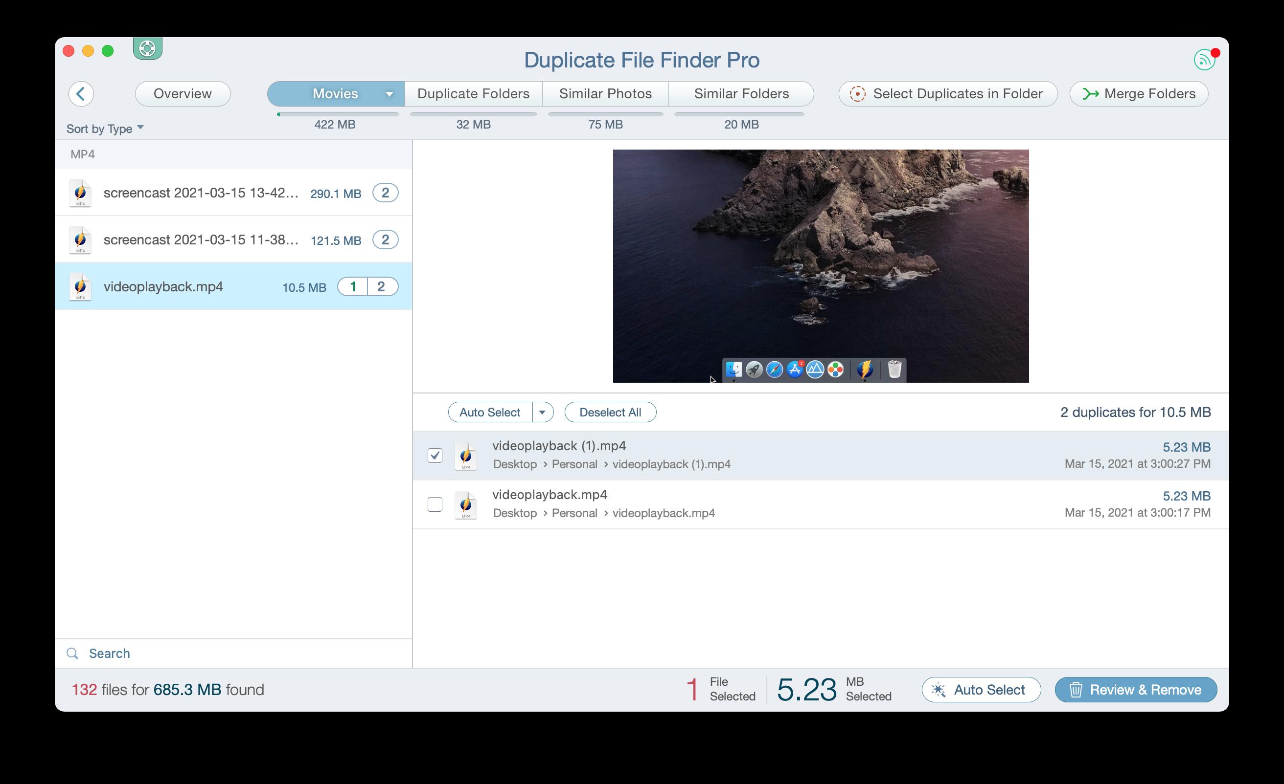 Duplicate File Finder showing duplicate videos on Mac