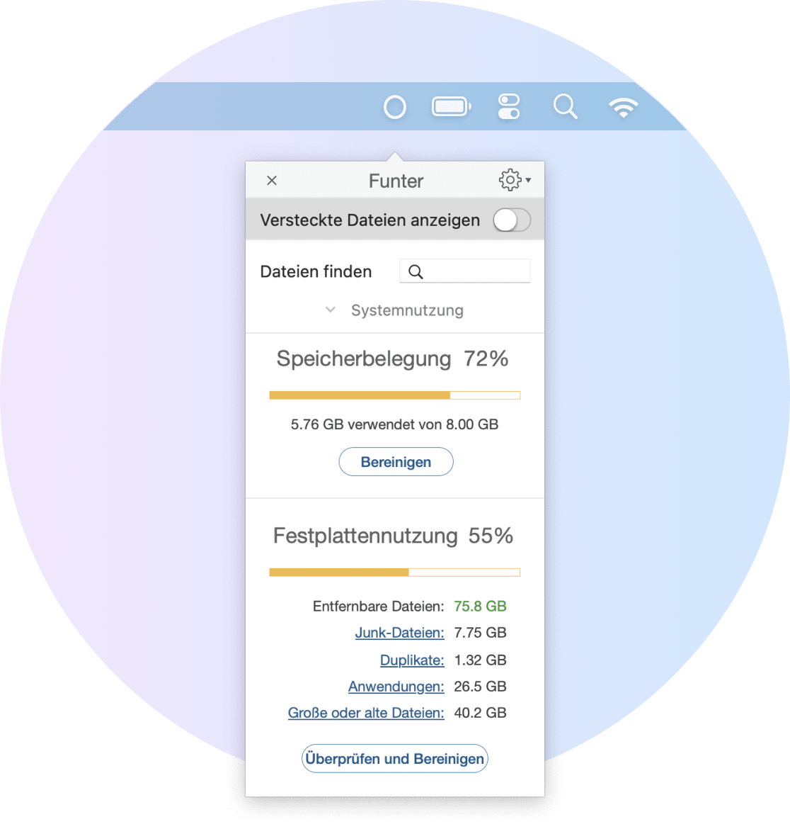Funter window showing memory and disk usage on Mac
