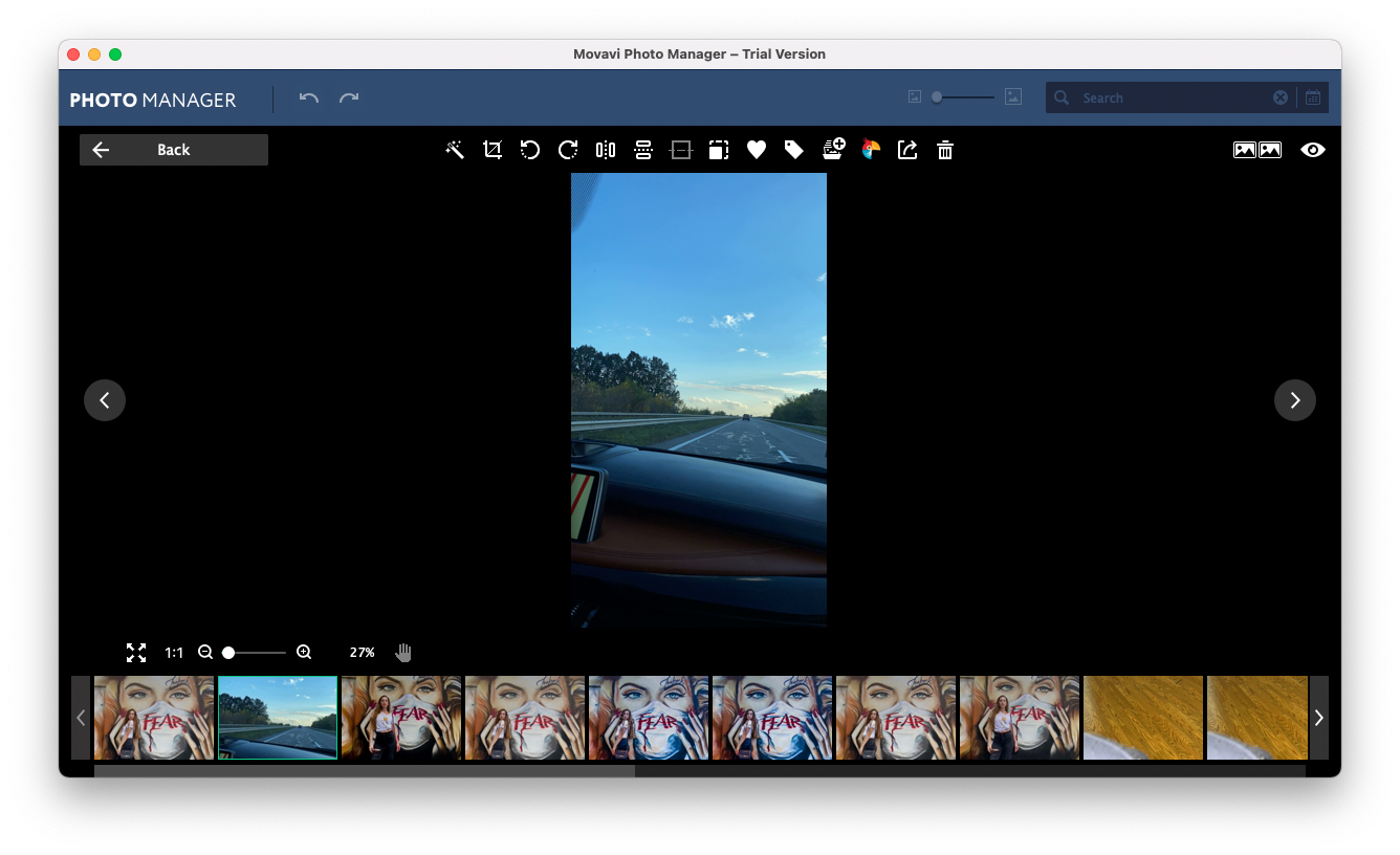 Editing functionality of Movavi Photo Manager