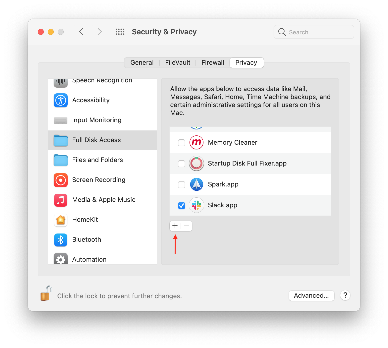 security privacy full disk access