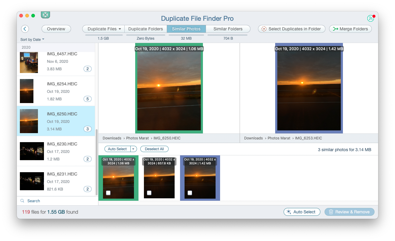 The similar photos section of Duplicate File Finder