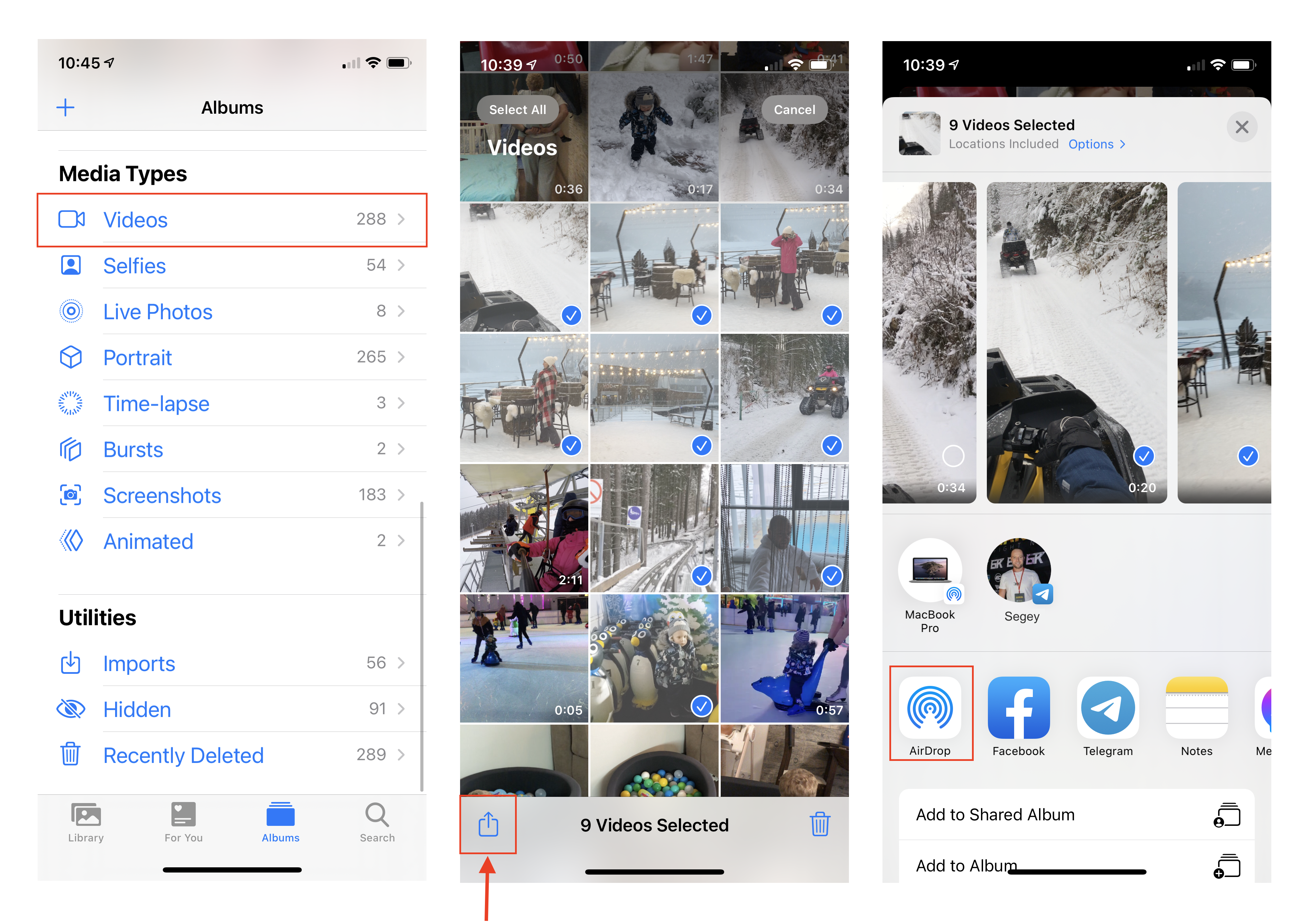 iPhone screens showing how to AirDrop videos to Mac