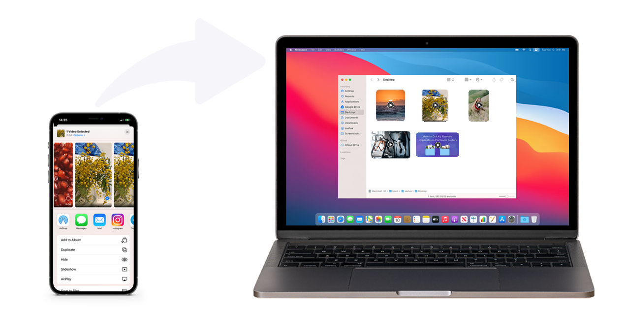 picture showing tranferring videos from iPhone to MacBook