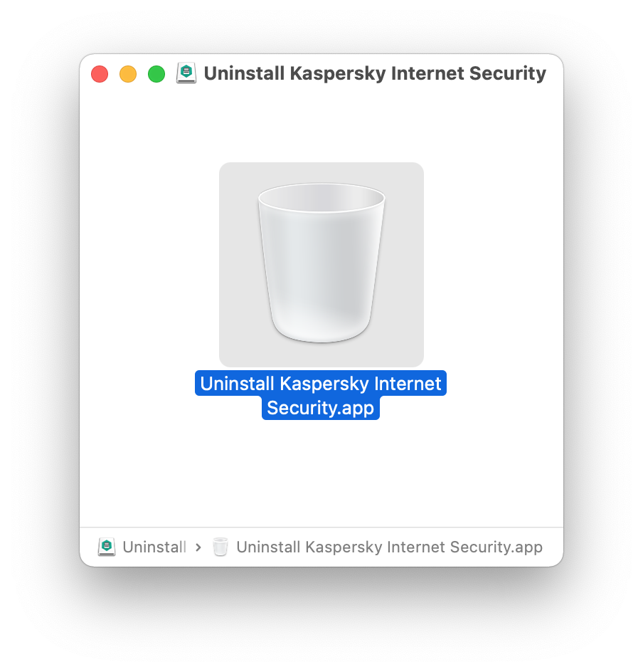 Uninstall Kaspersky Internet Security window