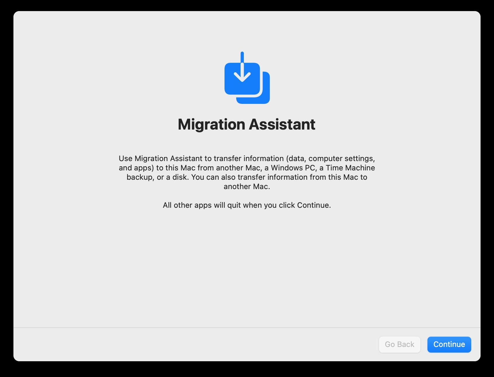 Migration Assistant start window