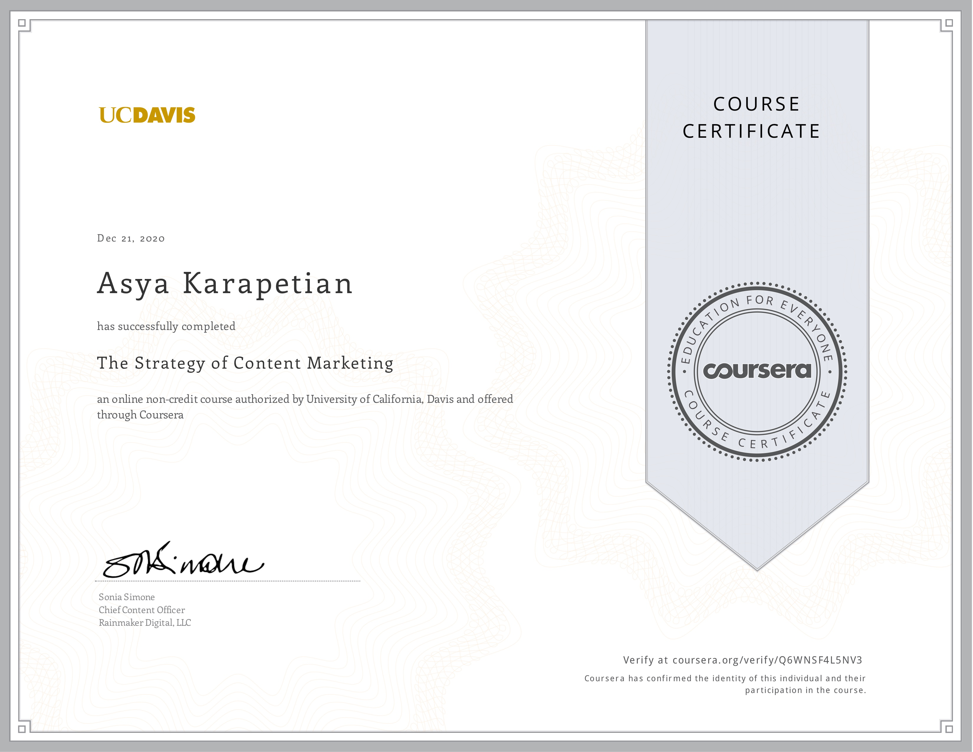 Asya Karapetyan certificate of content marketing