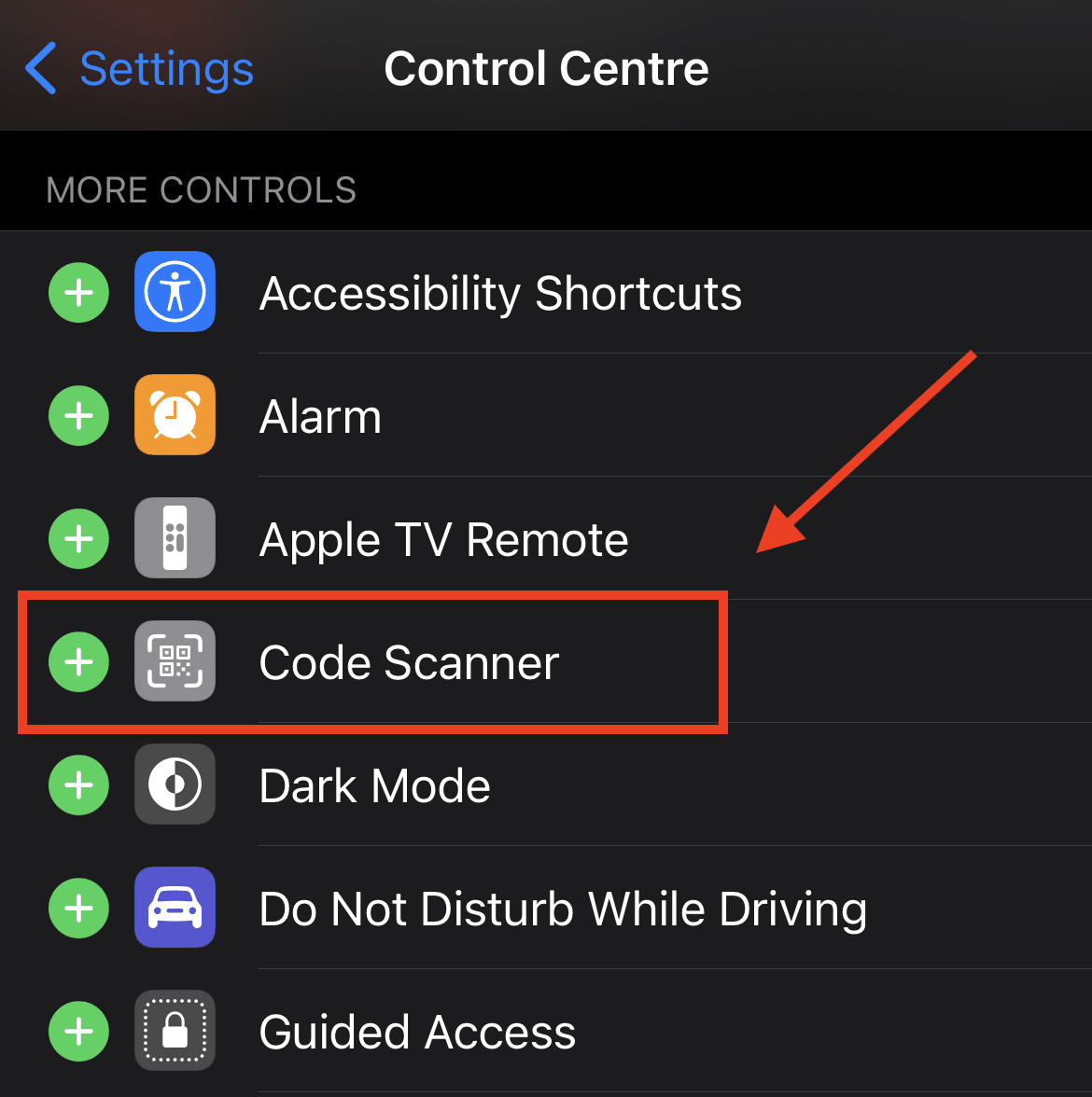 Code Scanner option in Control Center settings on iPhone