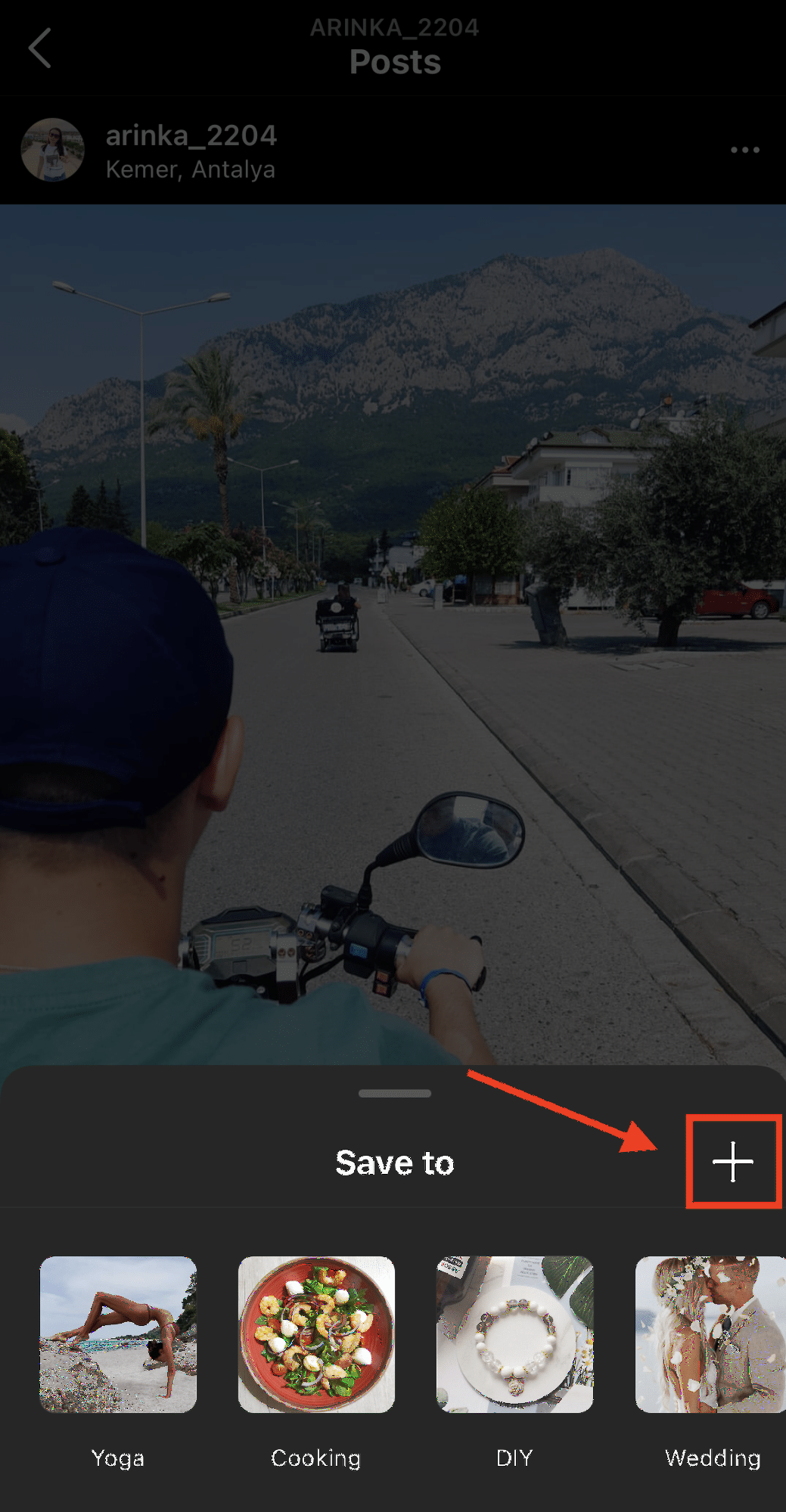Instagram post with Plus button highlighted