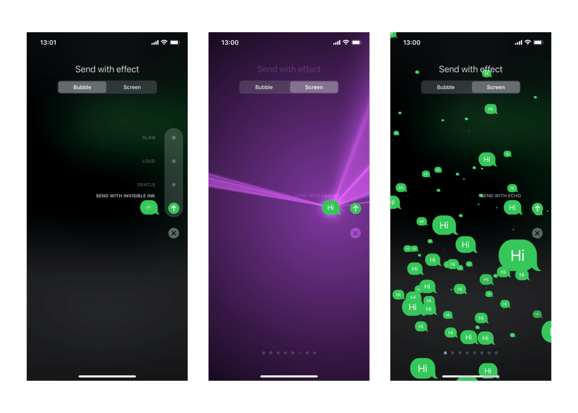 Effects for messages on iPhone