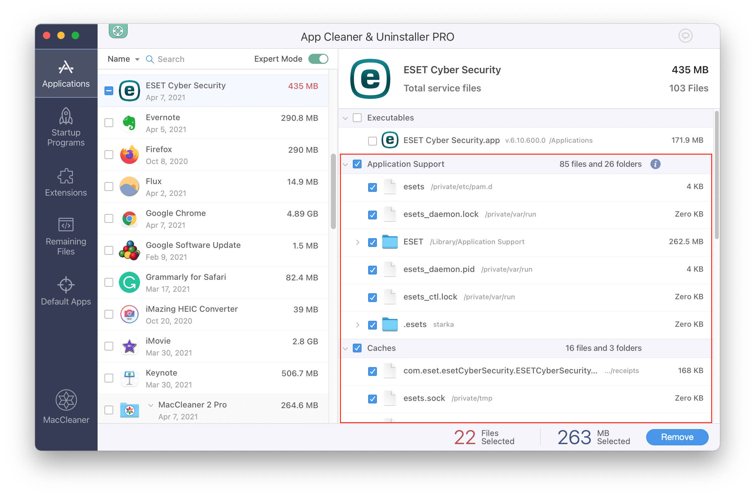 App Cleaner & Uninstaller window with Eset's support files selected