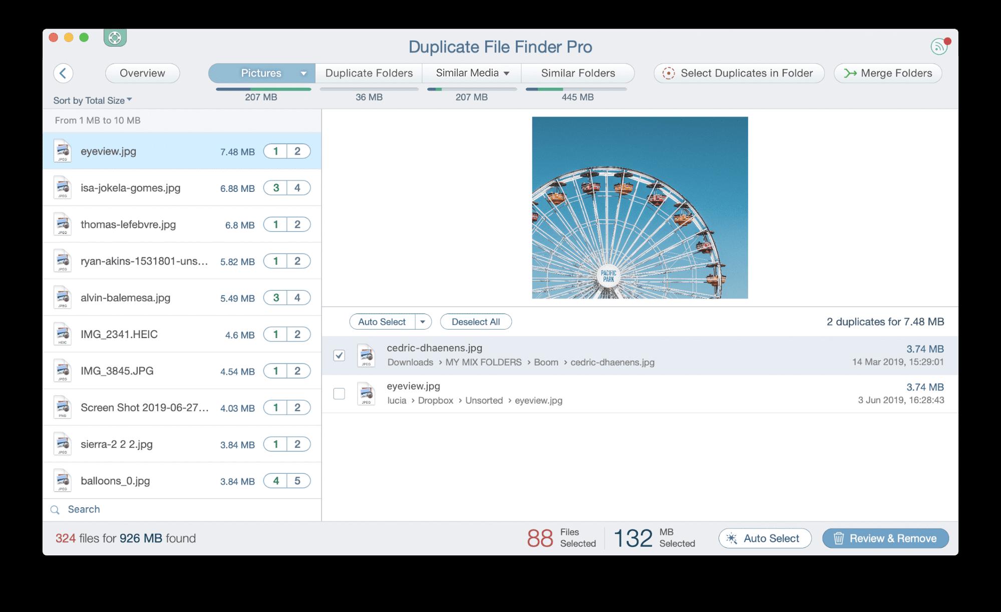 duplicate file finder app showing dupe photos