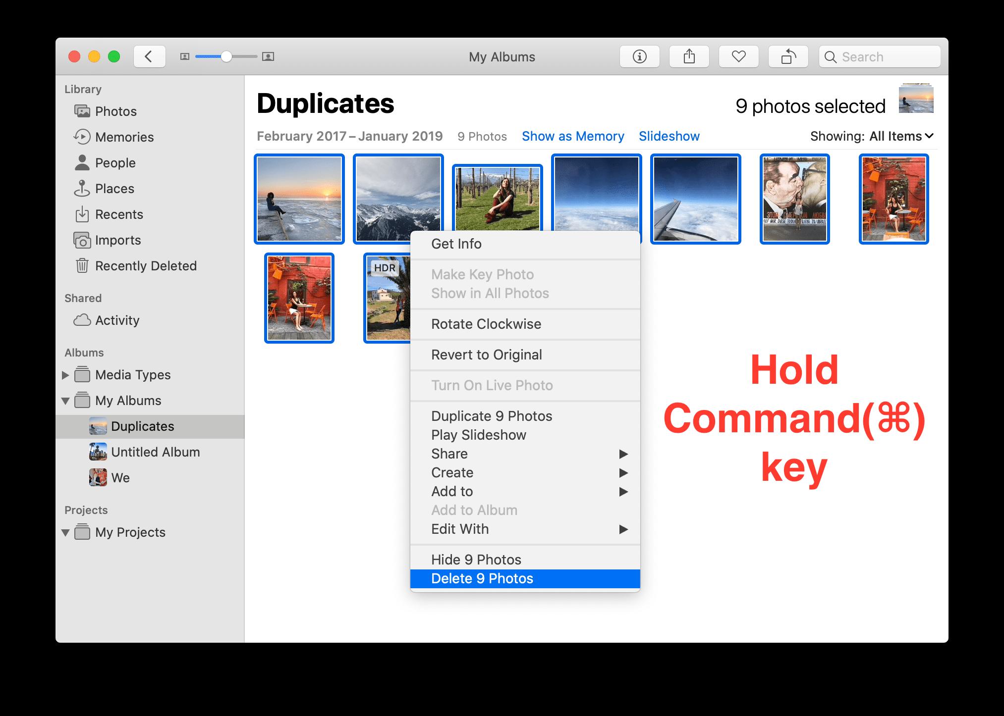 Photos app context menu with delete option selected
